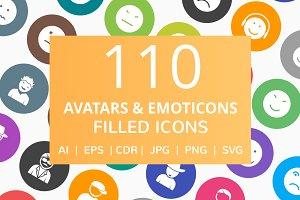 110 Avatars & Emoticons Filled Icons