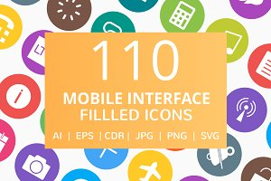 110 Mobile Interface Filled Icons