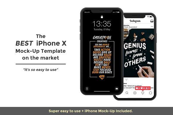 Instagram Template & iPhone X Mock