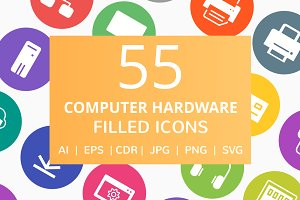55 Computer & hardware Filled Icons