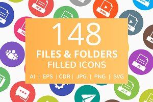 148 File & Folders Filled Icons