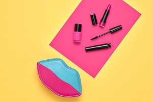 Fashion Cosmetic Makeup Set. Beauty Essentials.
