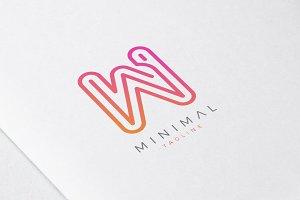 Minimal Line Initial Letter W Logo