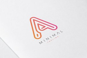 Minimal Line Initial Letter A Logo