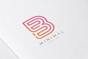 Minimal Line Initial Letter B Logo