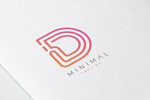 Minimal Line Initial Letter D Logo