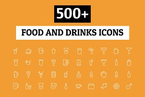 500+ Food and Drinks Icons