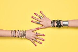 Fashion. Female hand, Trendy Jewelry