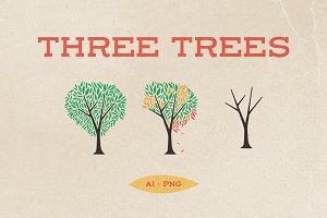 Three Trees Vector Art