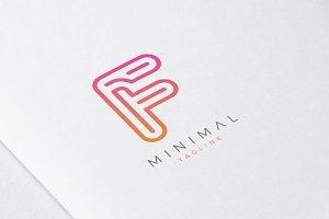 Minimal Line Initial Letter F Logo