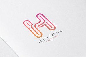 Minimal Line Initial Letter H Logo