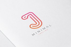 Minimal Line Initial Letter J Logo