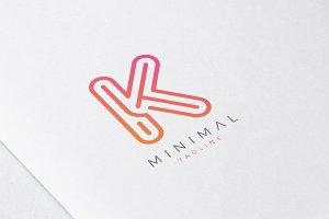 Minimal Line Initial Letter K Logo