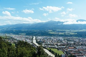 High angle view of Innsbruck against mountains