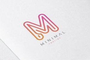 Minimal Line Initial Letter M Logo