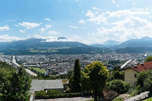 Panoramic high angle view of Innsbruck against mountains