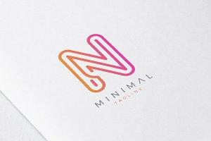 Minimal Line Initial Letter N Logo