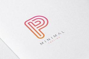 Minimal Line Initial Letter P Logo