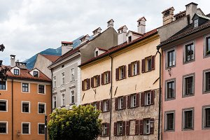 Low angle view of old buildings in old town of Innsbruck