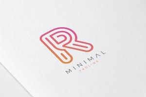 Minimal Line Initial Letter R Logo
