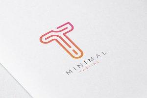 Minimal Line Initial Letter T Logo