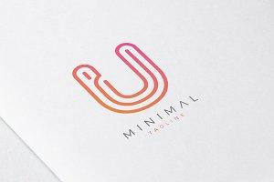 Minimal Line Initial Letter U Logo