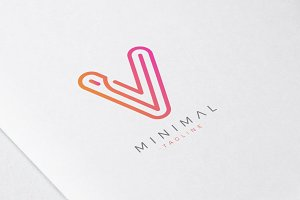 Minimal Line Initial Letter V Logo