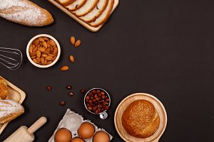 Homemade breads and ingredients.
