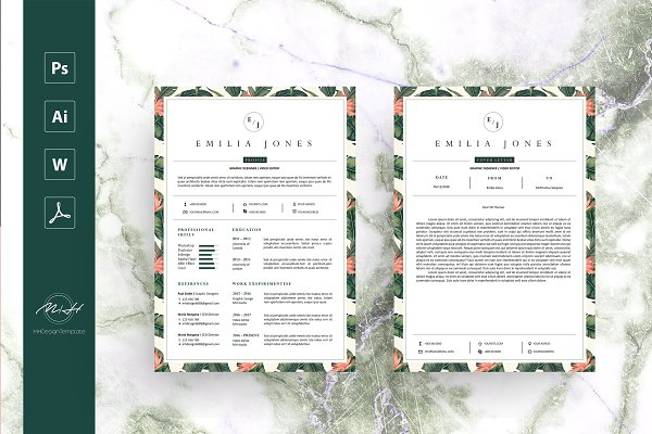 Resume Templates: MH Design Template - Leaf Floral Resume Template