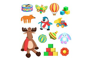 Toys for Children at Christmas Vector Illustration