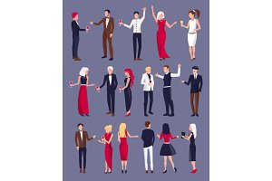People Dressed Formally on Vector Illustration
