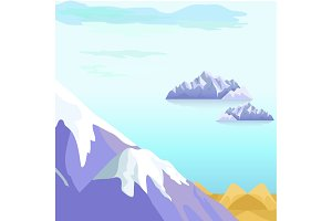 Beautiful Vector Landscape With Icebergs in Sea