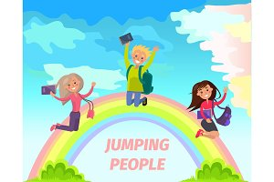 Jumping People Flat Vector Summer Concept