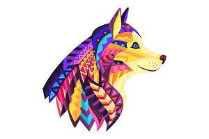 Designer Dog With Ornament Vector Illustrattion
