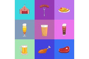 Set of Images Oktoberfest Vector Illustration