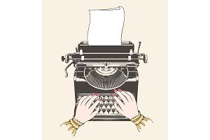 Copywriter concept vintage illustration