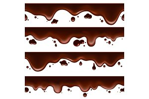 Dripping melted chocolate seamless banners