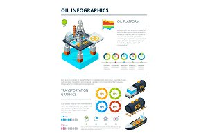 Infographics of oil industry production theme