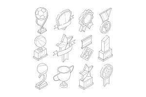 Linear isometric icon set of various sport trophies