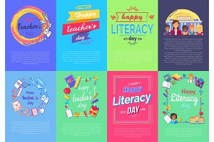 Happy Teacher's & Literacy Day Set of Posters