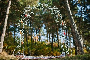 decoration arch in autumn forest