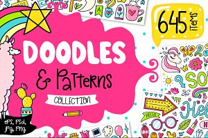645 Doodles & Patterns - Clipart Set