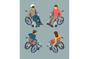 Disabled male and female people setting in wheelchairs. Isolated isometric vector illustrations