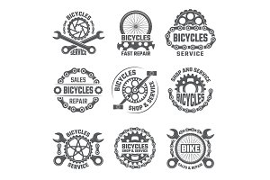 Labels template design with gears, chains and other parts of bicycle