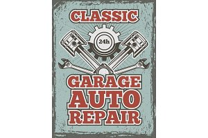 Retro poster of automobile theme with illustrations of different mechanic tools and details