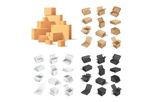 Set of Carton Boxes Isolated on White Background