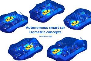 Autonomous smart car concept banners