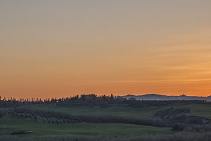 Panorama of Tuscany at Sunset