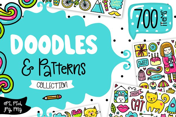 700 Doodles & Patterns - Clipart Se…