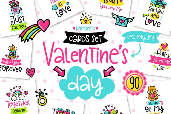 Card Templates: Qilli - 90 Valentine's Day Cards - Love Set